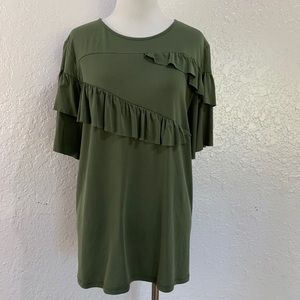 Ro & De Brushed Knit Ruffle Tee Bronze Green Olive